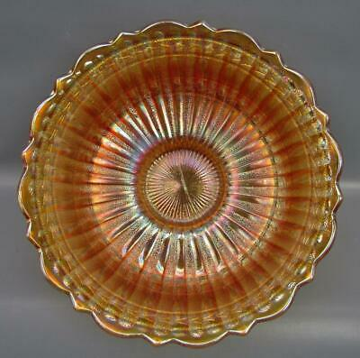 "Fenton STIPPLED RAYS - SCALE BAND Marigold Carnival Glass 9"" Master Bowl 6707"