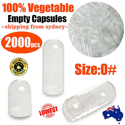 UP2000x Size 0 Empty Vegetable Capsules Clear Medicine Pill Vitamins Med Drug AU