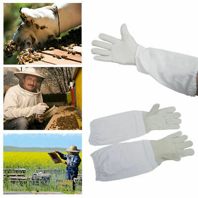 Beekeeping Bee Gloves - Soft White Goats Leather with Cotton Gauntlets