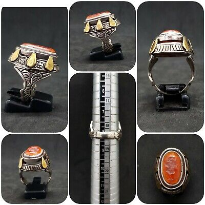 Solid Silver Unique Old Ring with King Empire Wonderful Intaligo Agate Stone #J5