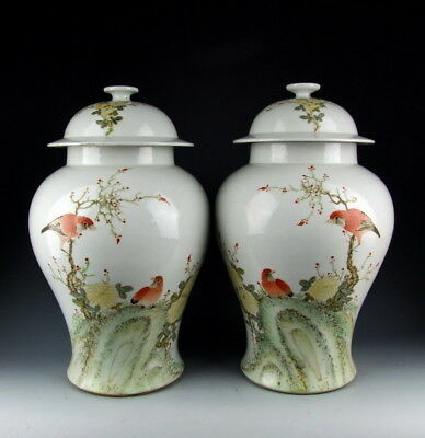 Pair of China Antiques Famille Rose Porcelain Lidded Jars with Flower&Bird Deco
