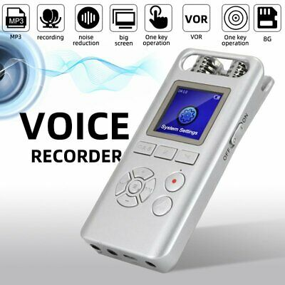 Digital Voice Activated Recorder Audio Sound Recorder MP3 8G Noise Reduction AU