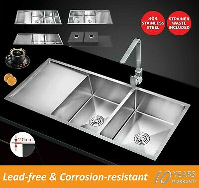 1150X450X220 Handmade Stainless Steel Under/Topmount Kitchen Laundry Double Sink