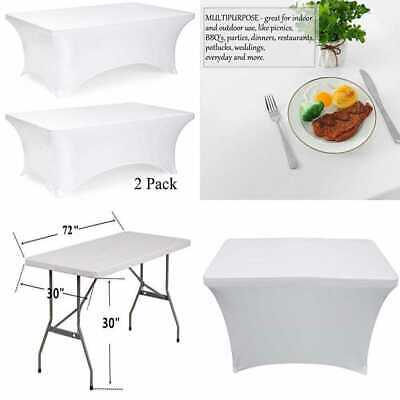 White Black Tablecloth Rectangular Fitted Stretch Table