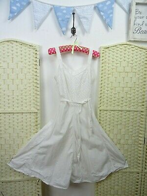 Vintage white cotton/linen boho festival rockabilly flirty 50s style tea dress S