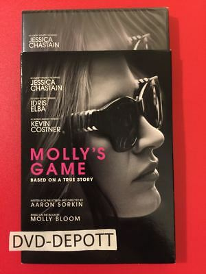 Molly's Game DVD & Slipcover Brand New FAST Free Shipping NO TAX