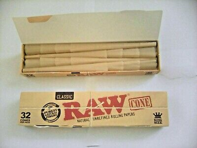 2 Boxs Of 32 = 64 Raw King Size Pro-Rolled Cones In Small Box For Smoking Rizla