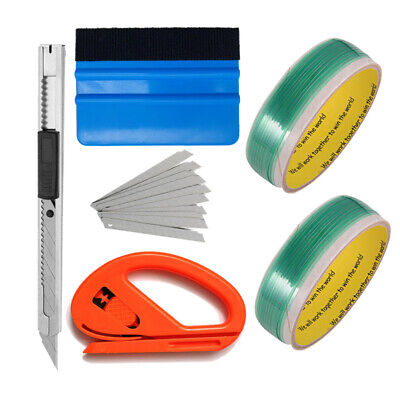2 Knifeless Finish Line Tape Squeegee Knife 10 Blades Vinyl Car Wrapping Tools
