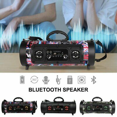 Portable Stereo Speaker Boombox Hi-Fi Bluetooth FM USB & Disco Party LED Lights