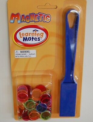 Magnetic Wand and 100 Chips / Tokens / Counters,  Educational Learning, bingo