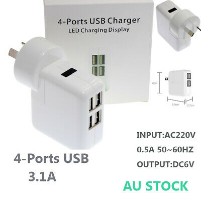 4 Port USB Charger Multi Adapter 3.1A Home  AU plug for apple Samsung Galaxy