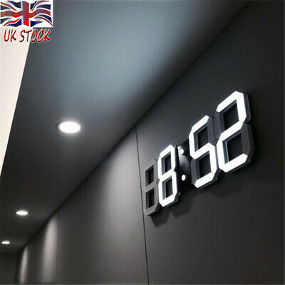 Modern Digital 3D LED Wall Clock Electric Alarm Snooze Watch 12/24 Hour Display