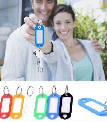 Pack of 2, 5,10, Plastic Colour Key Tags with Paper Inserts Split Rings -tags