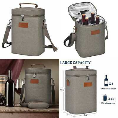 Insulated Wine Carrier Tote 4 Bottle Travel Padded Carrying Cooler Bag W Handle