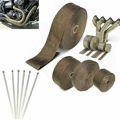 Titanium Exhaust/Header Heat Insulating Wrap Roll Tape With Stainless Ties Kit