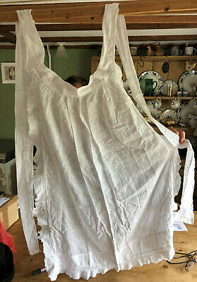 Vintage Hand Made Lace-Edged Cotton Apron