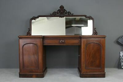 Antique Mahogany Twin Pedestal Sideboard Victorian Dresser