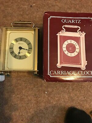 Quartz Solid Heavy Brass Carriage Clock, Vintage West German Case, Boxed!