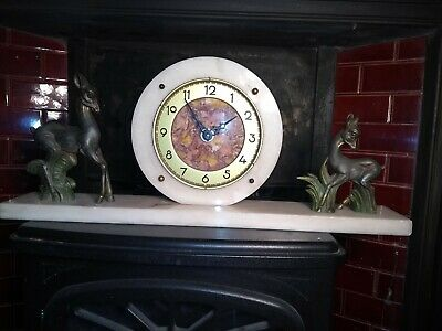 Art Deco Marble Based Mantle Clock With pair of Spelter Deers retro vintage