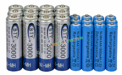 12 AA BTY 3000mAh + 12 AAA Blue 1800mAh NiMH Rechargeable Battery RC MP3 Clock
