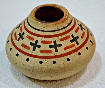 Antique Pueblo Zia Pottery Polychrome  Jar Vase Native American Indian