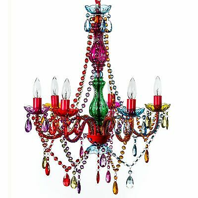 "Gypsy Color 6 Light Large Gypsy Chandelier H26"" W22"" Red Metal Frame Multi Color"