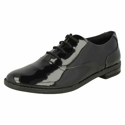SALE Girls Clarks Black Patent Leather Lace Up School Shoes DREW STAR