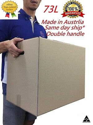 10 x Moving Cardboard Packing Boxes 73Litres Cartons With Handles-Same day Post