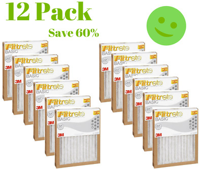 12 Pack FILTRETE- AIR-FILTER 12 PLEATED FURNACE REPLACEMENT PAD DUST NEW