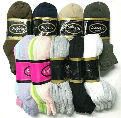 3 /6 /12 / Pair Non-Binding Top DIABETIC Colors Ankle Sock Size10-13 & 9-11 USA.
