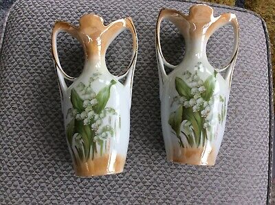 Pair of Vintage Vases Lily of the Valley decorate them