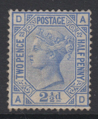 SG 157 2 1/2d Blue Plate 22 Position AD in average mounted mint condition .