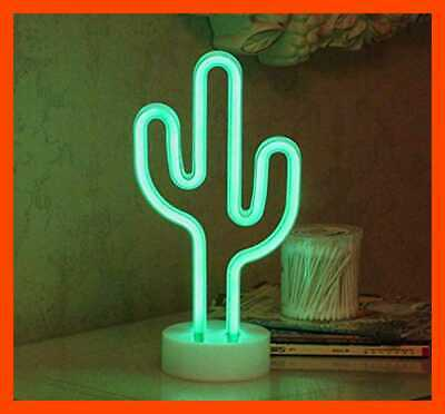 Cactus Neon Signs LED Light Sign W Holder Base For Party Supplies Girls Room Dec