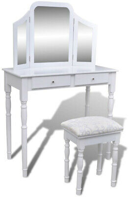 Dressing Table with 3 In 1 Mirror and Stool 2 Drawers White