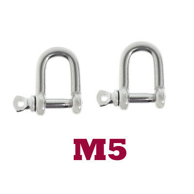 2xM5-5mm Stainless Steel D-Shackle Chain Shackle Rigging Fastener