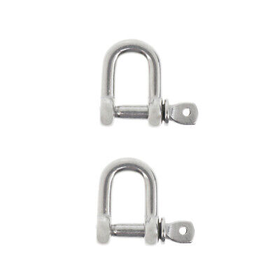 2xM4-4mm Stainless Steel D-Shackle Chain Shackle Rigging Fastener