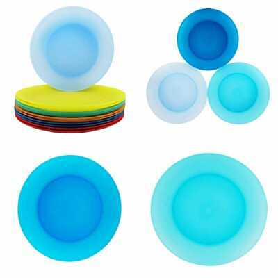 "Plastic Dinner Plates Reusable BPA Free Dishwasher Safe 9.7"" In 6 Asso Set Of 12"