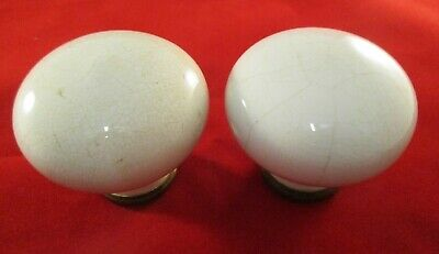 Vintage Antique White/Cream Ceramic & Brass Door Knobs Reclaimed With Patina  2