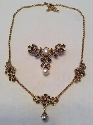 Vintage 1928 Set Of Jewelry Antique Gold Marcasite Topaz Crystals Faux Pearls