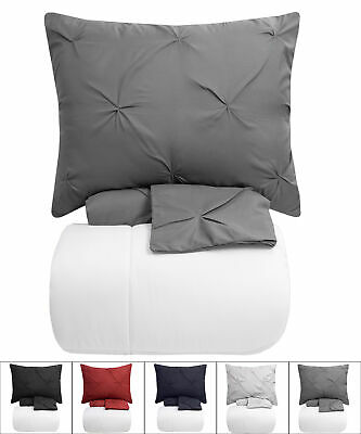 Pinch Pleat Pintuck Duvet Cover, Shams & White Comforter 4 Piece Set