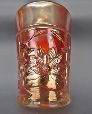 Northwood WATERLILY & CATTAILS Trademarked Marigold Carnival Glass Tumbler 5181
