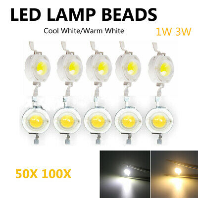 10x 50x SMD COB Chip Diodes Chip LED Bulb Round Cool/Warm White 1W 3W LED Beads