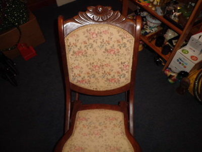 Antique Tapestry Folding Rocking Chair