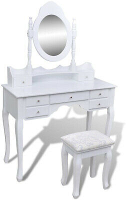 Dressing Table with Mirror and Stool 7 Drawers White XXL