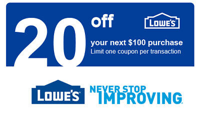 THREE 3x Lowes $20 OFF $100 InStore and Online---Fast Delivery---- 7 DAYS