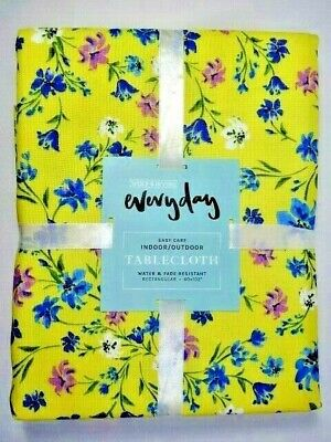 Wolf & Irving Yellow Floral Fabric Tablecloth 60 x 102 Inch Rectangle Pink Blue