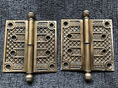 Pair Of Antique Victorian Bronze / Brass Door Hinges 4 By 4 Inches  Eastlake