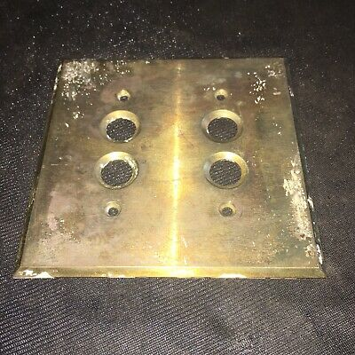 Antique Heavy Brass Push Button Electrical Cover Plate 2 Gang 4 Hole