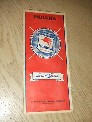 RARE 1936 Socony Mobil Oil Gas Indiana State Highway Road Map Evansville Indy IN