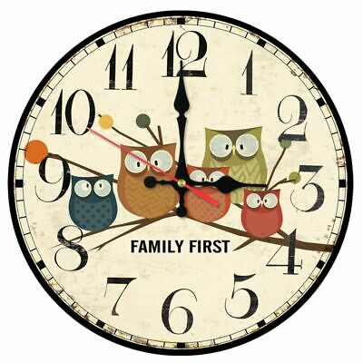 Family Time Wall Clock Still Life Quartz Wooden Antique Style Digital Watches